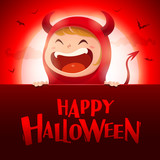 Happy Halloween. Red devil demon with big signboard in the moonlight. - 173653933