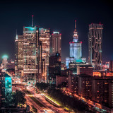 Warsaw downtown at night, Poland. City center - 173653946