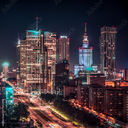 Warsaw downtown at night, Poland. City center