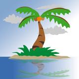 coconut Tree on a small island illustration vector