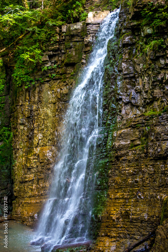 Photo of high waterfall in Carpathian mountains Poster