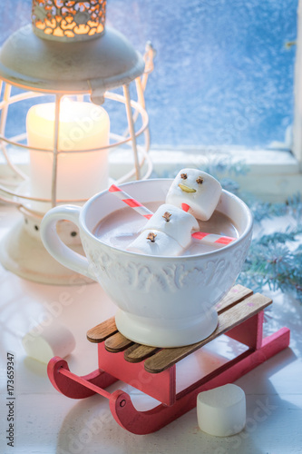 Happy marshmallows snowman for Christmas in hot chocolate Poster