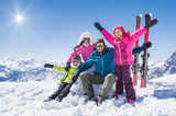 Happy family in winter holiday