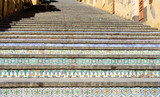 famous staircase with painted ceramic tiles in Caltagirone, sicily, italy