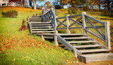 Autumnal old park with wooden stairs. Holiday and vacation travel concept