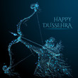 Vector illustration of Lord Rama with arrow killing Ravana in Dussehra Navratri festival. Polygonal in the form of a starry sky or space, consisting of point, line with destruct shapes