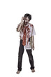 Portrait of creepy asian zombie man in clothes with blood