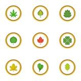 Tree leaves icons set, cartoon style