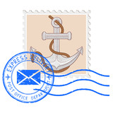 Postal stamp with anchor and blue round postmark