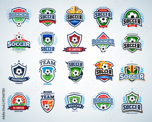 Soccer logo templates set. Football logotypes. Set of soccer football crests and logo template emblem designs, logotypes design concepts of football icons. Collection of Soccer Themed T shirt Graphics