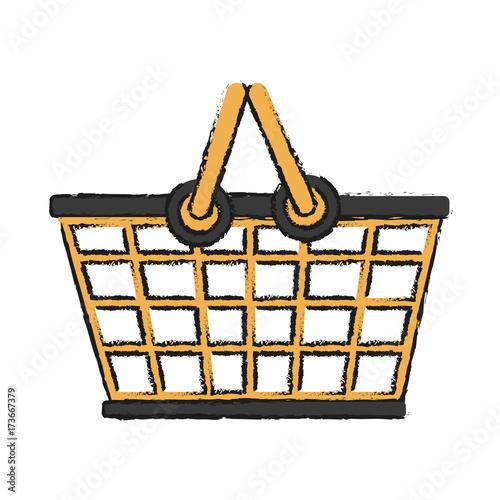 plastic supermarket basket vector icon illustration graphic design