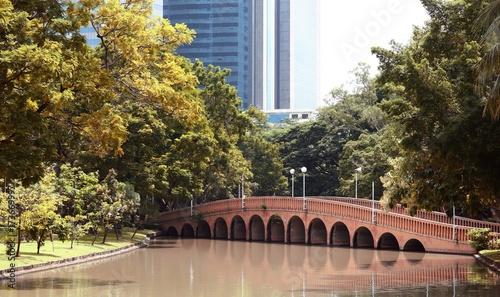 Aluminium Bangkok Arch brick bridge over the lake at Jatujak(Chatuchak) public city park
