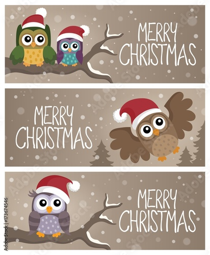 Deurstickers Voor kinderen Merry Christmas topic banners 2