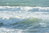mediterranean sea waves breaking background, green water - 173676184