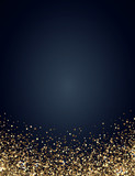Festive vertical Christmas and New Year background with gold glitter of stars. Vector illustration. - 173679594