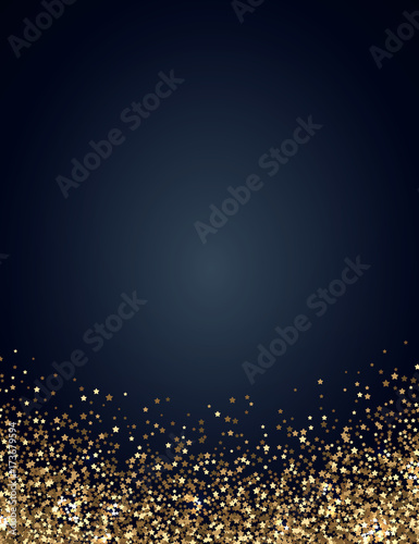 festive vertical christmas and new year background with gold glitter of stars vector illustration