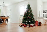 Fototapety Christmas celebrations with beautifully decorated Christmas tree