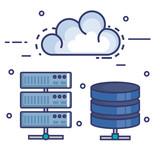 cloud computing set flat icons vector illustration design - 173683372