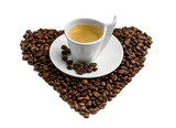 Coffee beans heart shape cup