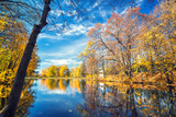 Sunny autumn landscape with blue sky over the lake - 173687744
