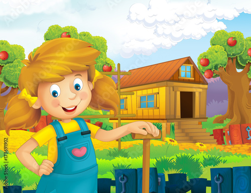 cartoon scene with happy girl working on the farm - standing and smiling / illustration for children - 173691902