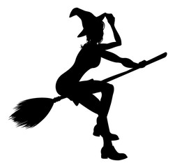 Witch Flying On Broomstick Halloween Silhouette