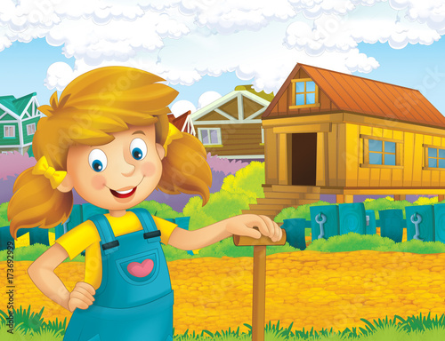 cartoon scene with happy girl working on the farm - standing and smiling / illustration for children - 173692999