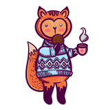 Cute animal. A little fox with a cup of tea and a biscuit. To print T-shirts, bags or cover. - 173695389
