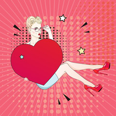 Comic Pop art blonde hair woman in red labutenes sits and holds a red heart and her glasses. Vector illustration.
