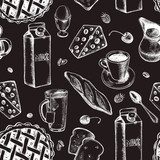 Decorative seamless pattern with ink hand-drawn food and drinks - milk, baguette, tea, coffee, pie, cheese. Breakfast elements texture. Vector illustration. - 173699378