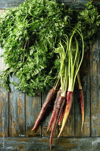 Bundle of raw organic purple carrot with green top haulm over old wooden plank background. Top view with space. Food background.