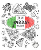 Set of pieces of delicious pizza and pizza ingredients. Food elements collection. Vector ink hand drawn illustration. Italian Cuisine. Template for menu, signboard, cards, banners, posters design. - 173706183