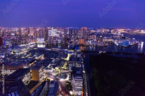 Foto op Canvas Donkerblauw Night View of Tokyo Bay