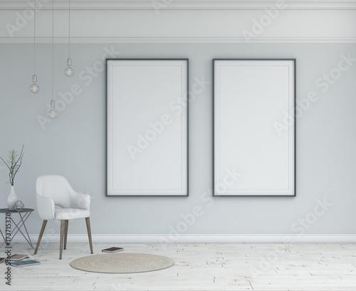 Simple scandinavian interior with frames. Modern scene.