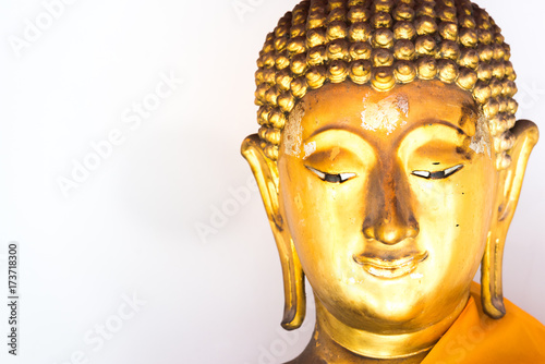 Fotobehang Boeddha face of Buddha statue with white background