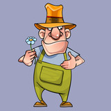 cartoon male gardener with a flower in his hand - 173724552