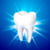 Tooth on a blue background, template design element, Vector illustration - 173724779