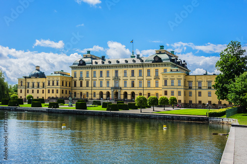 Foto op Canvas Stockholm External view of Drottningholm Palace in Stockholm, Sweden. Drottningholm Palace is a UNESCO World Heritage site. It is the most well-preserved royal castle built in the 1600s in Sweden.