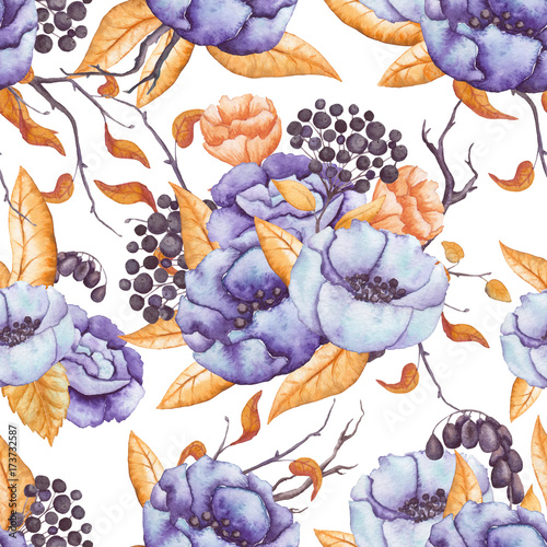 Seamless Pattern of Autumn Bouquets with Berries, Flowers and Leaves - 173732587