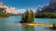Beautiful Canadian landscape - Spirit Island in Maligne Lake, Jasper National park, Alberta, Canada.