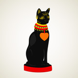 Vector image of an Egyptian cat on a white background  - 173735946