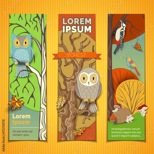 Vector set of woodland vertical banners.