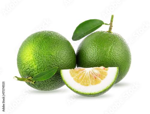 green orange isolated on white background