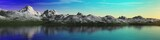 panorama of a mountain sunset over the sea, 3d rendering