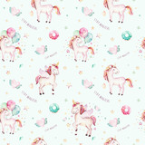 Isolated cute watercolor unicorn pattern. Nursery rainbow unicorns aquarelle. Princess unicornscollection. Trendy pink cartoon horse. - 173745702
