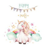 Isolated cute watercolor unicorn clipart. Nursery unicorns illustration. Princess rainbow unicorns poster. Trendy pink cartoon horse. - 173745984