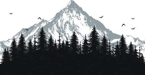 hand drawn vector nature illustration with mountains and forest on first view. silhouette landscape. using for travel and nature background and card