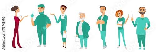 Set of male and female doctors, therapists, nurses, surgeons, medical staff, hospital employees, flat cartoon vector illustration isolated on white background. Flat cartoon doctors in medical uniforms