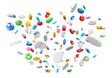 Floating medicine pills and drugs 3D rendering - 173749713