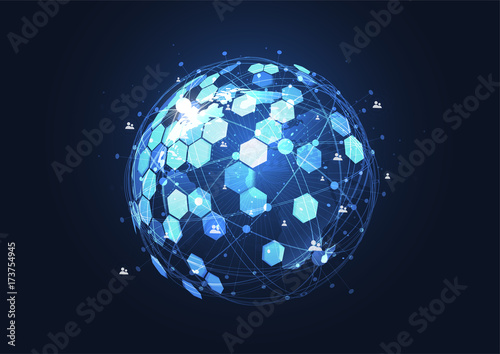 Fridge magnet Global network connection. World map point and line composition concept of global business. Vector Illustration